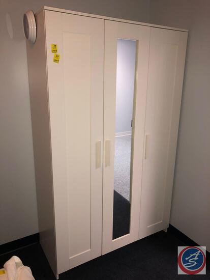 "Three Door Cabinet with Mirror Measuring 46"" X 19 3/4"" X 75"""