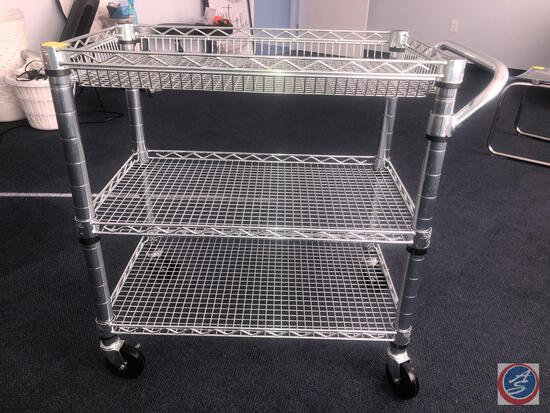 "Three Tier NSF Seville Classics Inc Wire Cart on Casters Measuring 30"" X 18"" X 32 1/2"""
