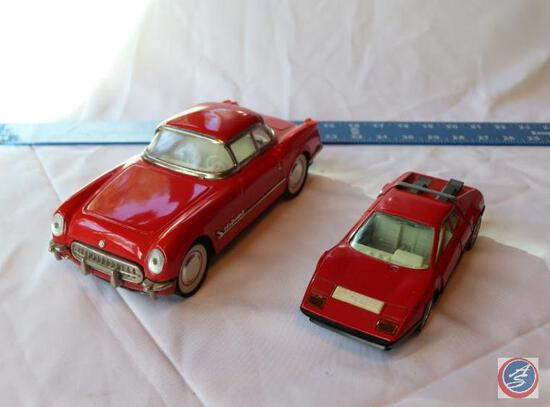 1950's Friction Toy Car Chevrolet Deluxe Red Sedan Marked MF 316 and Red Burago Ferrari 512 Scale