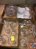 1936-1984 Candlewick by Imperial Glass-Ohio Glassware Including (2) Three Light Candlestick Holders,