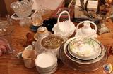 (3) Hobnail Milk Glass Baskets, (1) Hobnail Milk Glass Vase, Deep Purple Depression Glass Bowl,