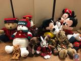 Assorted Stuffed Toys Including Raggedy Ann, Mickey Mouse, Minnie Mouse, Santa Claus, Monkey Holding