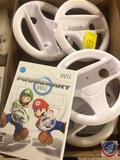 Wii Mario Kart Game and (4) Steering Wheel Accessories