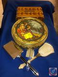 Wooden Cigar Box with Lid, Cango Mosaic Picture Tin with Lid, Vintage Mirror and (2) Vintage Brushes