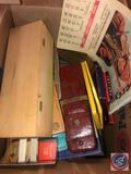 Liberty 1937 Calendar, Slate Pencils in Slate Pencil Box, Chalk Sticks in Wooden Box, Assorted