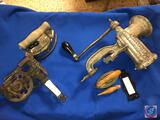 Vintage Enterprise Tinned Meat Chopper, (2) Vintage Irons and More
