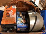 VHS Movies Including Chocolat, Camelot, the Killer Angels, Mutiny on the Bounty Wicker Basket and
