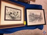 Framed Pheasant Artwork Signed Janette Samuelson Roth 1985 and Framed Drawing Signed Roger