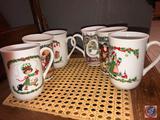 (1) Fine Bone China Christmas Coffee Mug Marked Made in England, (2) Dunoon Stoneware Christmas