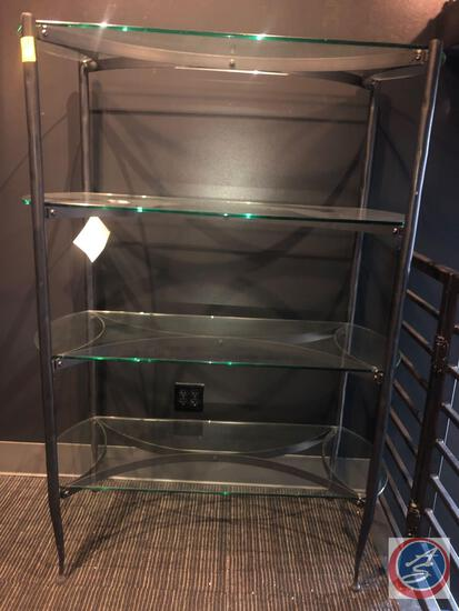 "Four Tier Glass and Metal Pan Shelf Measuring 20"" X 46"" X 64"""