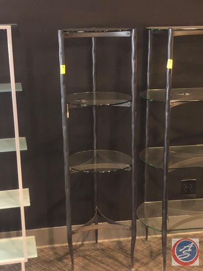 "Three Tier Glass and Metal Pan Etagere Shelf Measuring 18"" Diameter and 64"" Tall"