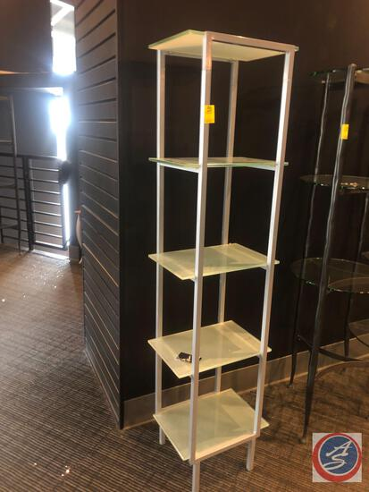 "Five Tier Frosted Glass and Metal Concord Tower Measuring 17"" X 13"" X 65"""
