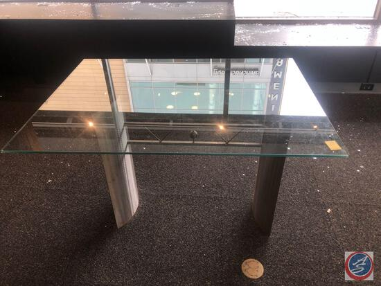 "Glass and Metal Table Measuring 48"" X 36"" X 29 1/2"""
