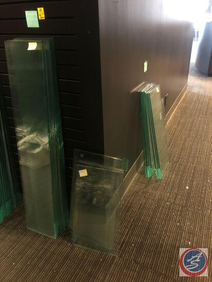 "(10) Glass Shelving Pieces Measuring 49"" X 9 1/2"", (9) Glass Shelving Piece Assorted Sizes, (8)"