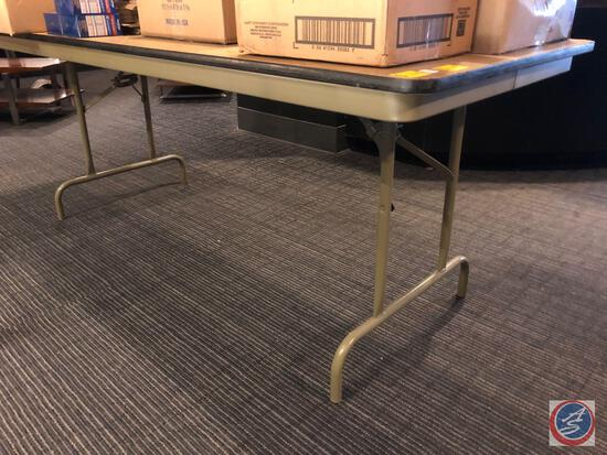 6ft Wood and Metal Folding Table
