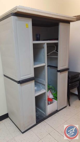 "Plastic Storage Cabinet Measuring 52"" X 20"" X 72"""