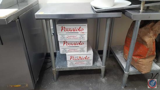 "Free Standing Two Tier Stainless Steel Prep Table Measuring 30"" X 24"" X 33 1/2"" [[CONTENTS NOT"