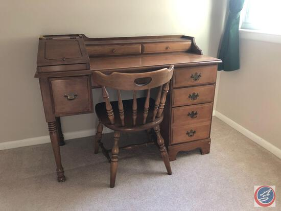 "Seven Drawer Secretary Desk Measuring 46"" X 22"" X 35"" and Spindle Back Chair Measuring 29"""