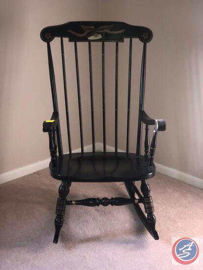 Spindle Back Black and Gold Rocking Chair Marked Our Liberty and Independence Measuring 40""