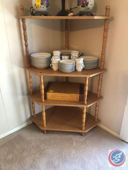 "{{2X$BID}} Wooden Four Tier Corner Stands Measuring 33"" X 25"" X 51 1/2""{{CONTENTS SOLD SEPERATELY}}"