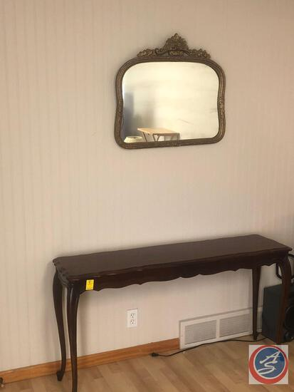 "Hammary Sofa Table Measuring 53 1/2"" X 15"" X 28"" and Wall Hanging Mirror Measuring 27 1/2"" X 25"""