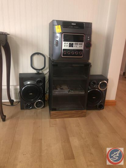 RCA Five Disc Changer Model No. RS2652 B and Two RCA Speakers