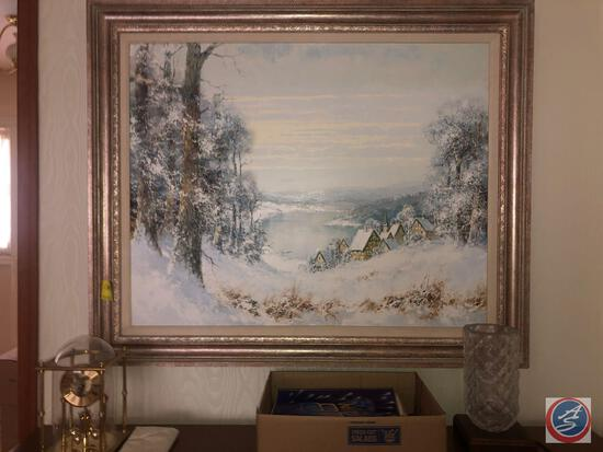 "Original Framed Oil Painting Signed by Willi Bauer Measuring 39"" X 31 1/4"", Benchmark Clock Marked"