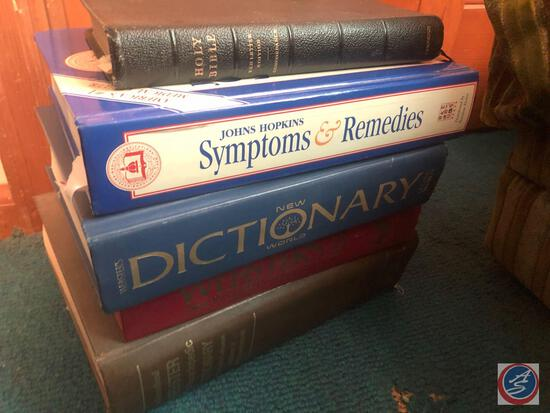 Books Including Titles Such As The Holy Bible, Johns Hopkins Symptoms and Remedies, Second College