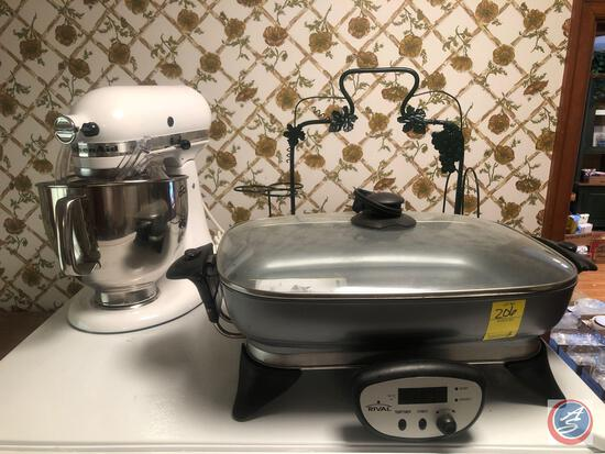 Rival Electric Skillet, KitchenAid Mixer Model No. KSM150WSM and Grapes Salad Bowl, Oil, Vinegar,