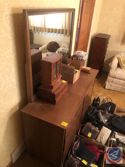 "Six Drawer Dresser Measuring 52"" X 18 1/2"" X 31"", Mirror Measuring 41"" X 33"" [[CONTENTS SOLD"