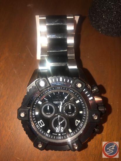 Men's Invicta Chronograph Wrist Watch Silver with Black Accents