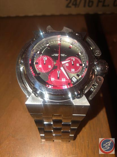 Men's Invicta Chronograph Wrist Watch Silver with Red Accents