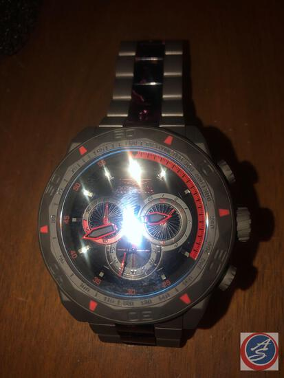 Men's Invicta Wrist Watch Grey with Red Accents
