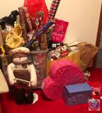 Large Assortment of Wrapping Paper, Gift Boxes, Heart-Shaped Pinata, Valentine's Day Lion, Snowman