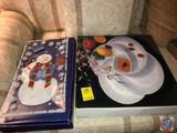 Fusion Art Glass Snazzy Snowman Serving Tray Measuring 15