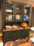 2-Piece Kitchen Buffet Hutch with Three Tiers and Six Cabinet Doors Bottom Measuring 57