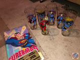 (2) 1966 D.C Comics Batman Cups, (3) 1975 D.C. Comic Superman Cups and (1) 1971 D.C. Comics Flash