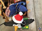 Snowman and Penguin Lighted Outdoor Decorations, Assorted Wicker Baskets, and (2) Scarecrows