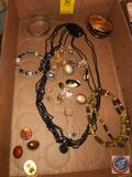 Monet Bangle Bracelet, Sterling Silver Bangle Bracelet Marked Mexico 925, Carolee Clip-On Earrings,
