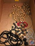 Mister Bijous Clip-On Earrings, (2) Black Beaded Necklaces [[NO MARKINGS]], String of Faux Pearls,