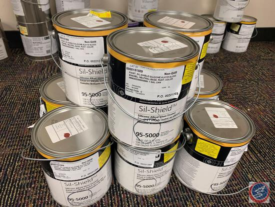 {{LOCAL PICK UP ONLY, NO SHIPPING AVAILABLE}} {{9X$BID}} (9) Gallons of Rust Color Sililcone Alkyd