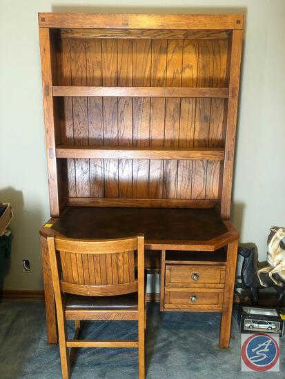 "Young Hinkle Office Desk with Two Drawers and Two Shelves Measuring 44"" X 25 1/2"" X 75 1/2""and"