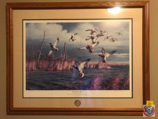 Ducks Unlimited International Framed Print Titled Greenhead Alert Signed by David A. Maass 1988
