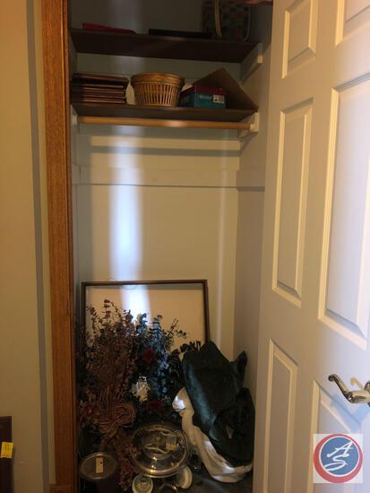 "(5) 8"" X 10"" Picture Frames, Wicker Basket, Floral Wreath, Fall Swag, Ceiling Fan Model No. YSC-52,"