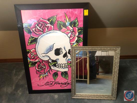 "Ed Hardy Framed Print Measuring 27 1/2"" X 39 1/2"" and Framed Mirror Measuring 20"" X 24"""
