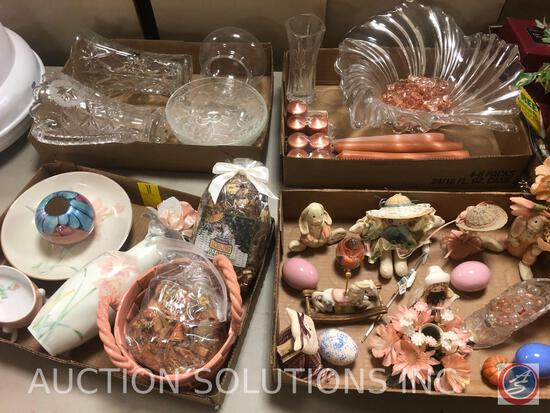 Jan 1991 Bunny Figurines, Lead Crystal Pitcher, Decorative Eggs, Glass Centerpiece with Pink Glass