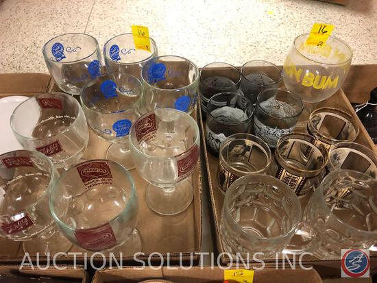 (4) Pabst Blue Ribbon Stemmed Glasses, (4) Falstaff Stemmed Glasses, Sun Bum Glass, (4) Roaring