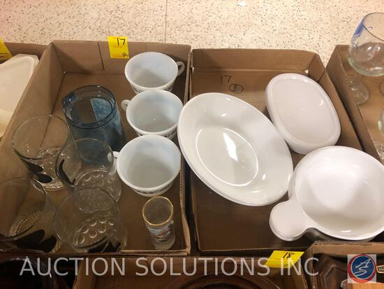 (2) Corelle By Corning Fruit Bowls, (3) Pyrex Cups, Smith-Western Oregon Shot Glass and More