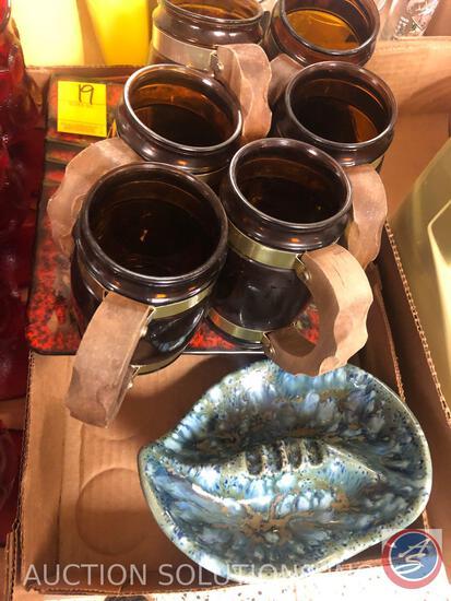 Vintage Arnel's Ceramic Ashtray by LM, (6) Siesta Ware Mugs and Beard Mfg. Co #2 Ashtray