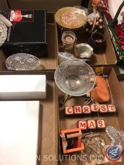 Cristal D'Arques Candle Sticks, Genuine Hand Cut Lead Crystal Egg Candy Dish, Mikasa Parisian Ivy